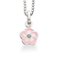 Lyserød blomst halskæde - Sølv