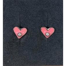 *Ørepynt lyserød hjerte/zir. sølv