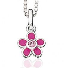 Pink blomst halskæde - Sølv