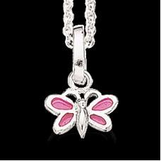 Pink sommerfugl halskæde - Sølv