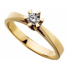 Prinsesse ring 0,20 W/VVS - 14 karat
