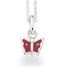 Rød sommerfugl halskæde - Sølv