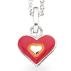 Rødt hjerte halskæde - Sølv