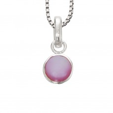 Rosa perlemor halskæde - Sølv